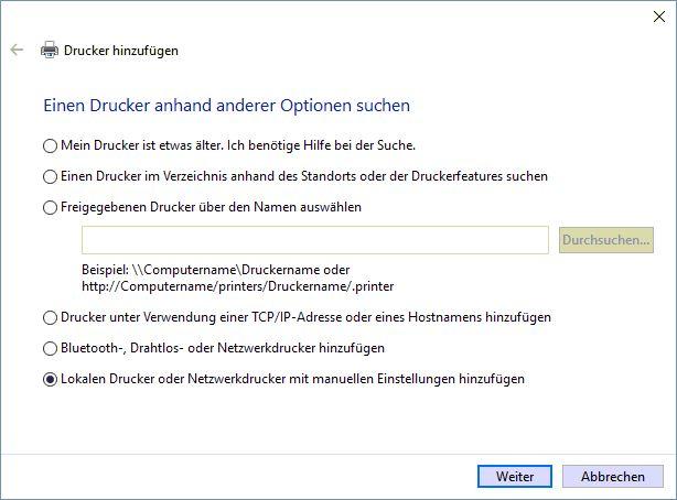 Drucker_Manuellhinzufügen_Windows10
