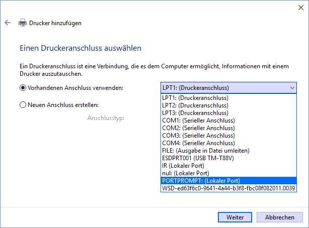 Drucker_PortAuswählen_Windows10